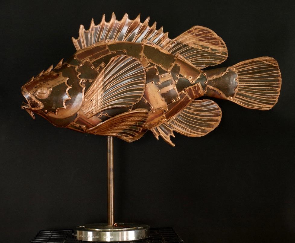 Snowy Rockfish sculpture by Alanna Baird